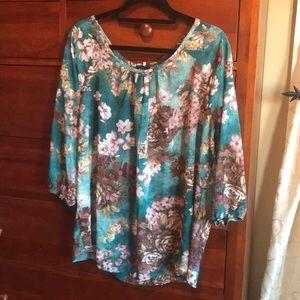 Gorgeous Sky Plus floral blouse 1X